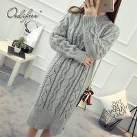 Ordifree Warm Knitted Dress Women Long Sweater Dress Turtleneck White Black Grey Crochet Long Sleeve 2017