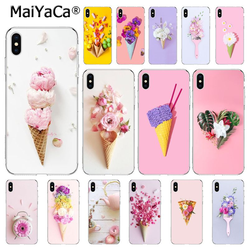 MaiYaCa candy colors ice cream Flower Pizza Peony Phone Case For iphone 11 Pro 11Pro Max 8 7 6 6S Plus X XS MAX 5 5S SE XR