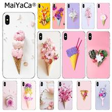MaiYaCa cukierkowe kolory lody kwiat Pizza piwonia etui na telefon do iphone 11 Pro 11Pro Max 8 7 6 6S plus X XS MAX 5 5S SE XR(China)