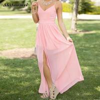 Women S Chiffon Slip Pink Dress Long Green Backless Solid V Neck Bandage Casual Party Summer