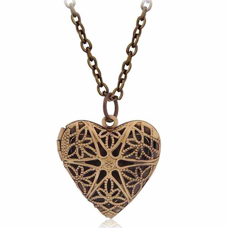 Винтажный стиль полый в форме сердца фото медальон эфирное масло диффузор Пустой Духи ожерелье филигранный полый кулон