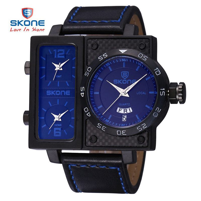 SKONE 2017 3 Time Zone Date Week Big Face Square Dial Sport Watches Men Leather Strap Watch Male Boys Fashion Casual Wristwatch  pure white dial face ziz time watches navy