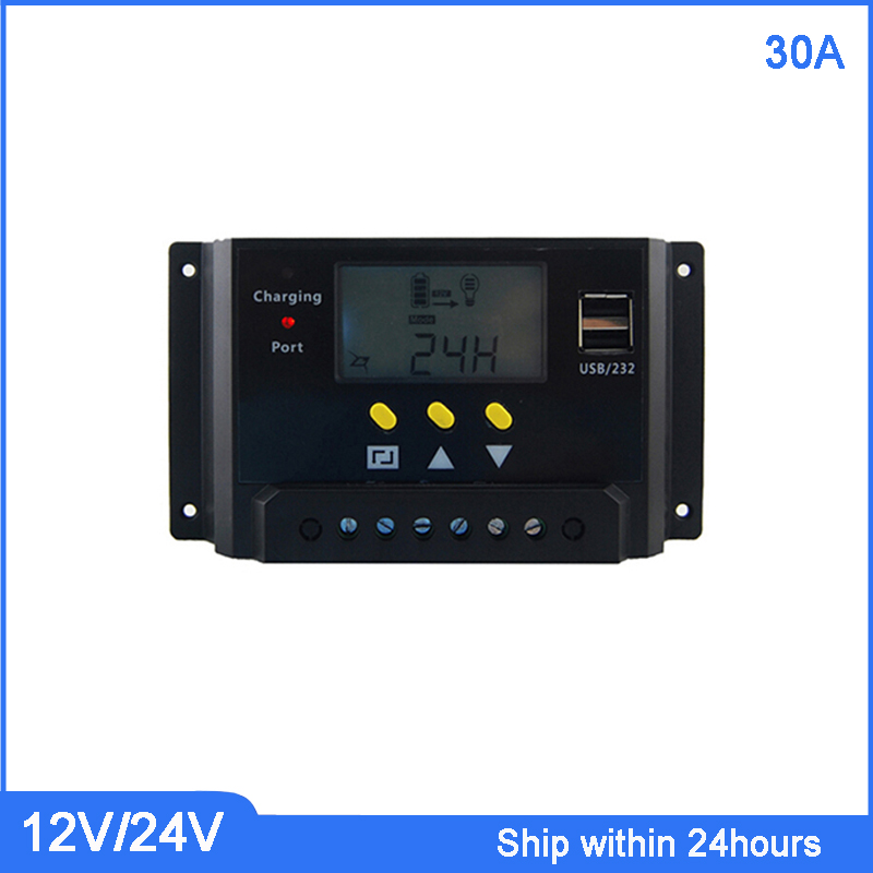 New PWM Mode 12V/24V Auto Switch Solar Charge Controller 30A Charge Regulator with USB Port/ Smart LCD Solar Controller cm3024z 12 24v 30a solar regulator charge controller pwm charge mode lcd solar panels genetator voltage current controller