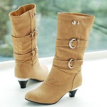 Women's Winter Fashion Snow Mid-Calf Boots New Belt Buckle With Round Leisure Chunky Heel High Booties Cheap Shoes
