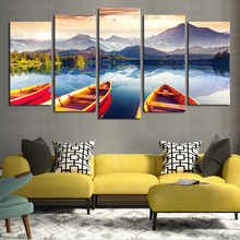 Artryst HD Print Modular Picture Canvas 5 Panel Beautiful Boats Sea Mountain Natural Landscape Painting Home Wall Art Decor