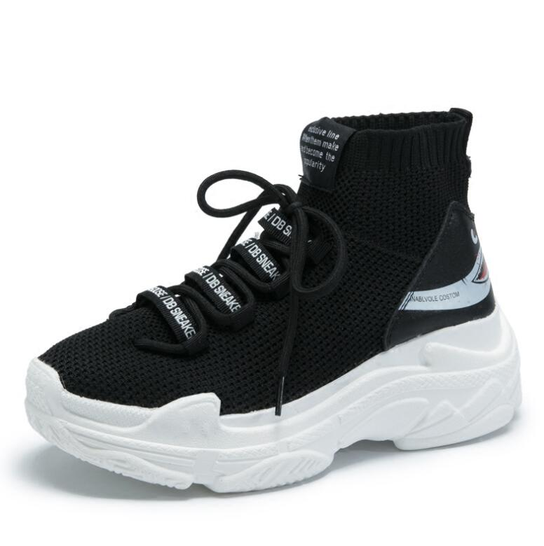 High Top Men Women Sneakers 5 CM Thick Sole Sock Shoes Knit Vamp Breathable Dad Shoes White Black Sapato Feminino