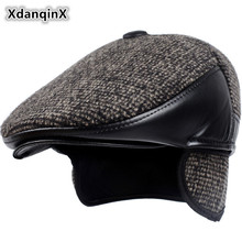 XdanqinX 2018 zima styl nowy mężczyźni kapelusz wełniany gruby ciepły Berets z Earmuffs męski Bone tatusiowie Hat Trucker Czapki zimowe dla mężczyzn tanie tanio Berety W XdanqinX Rozmiar 56-62cm Patchwork Dorosłych Casual Wełniane