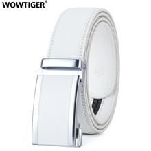 WOWTIGER Mens Fashion Automatic Buckle Leather Luxury Man cinturones hombre white men Belt Alloy buckle Belts for Men