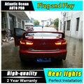 Luces traseras de a & t estilo del coche para mitsubishi lancer 2010-2012 lancer llevó la lámpara de cola luz trasera drl + freno + parque + luces led de señal