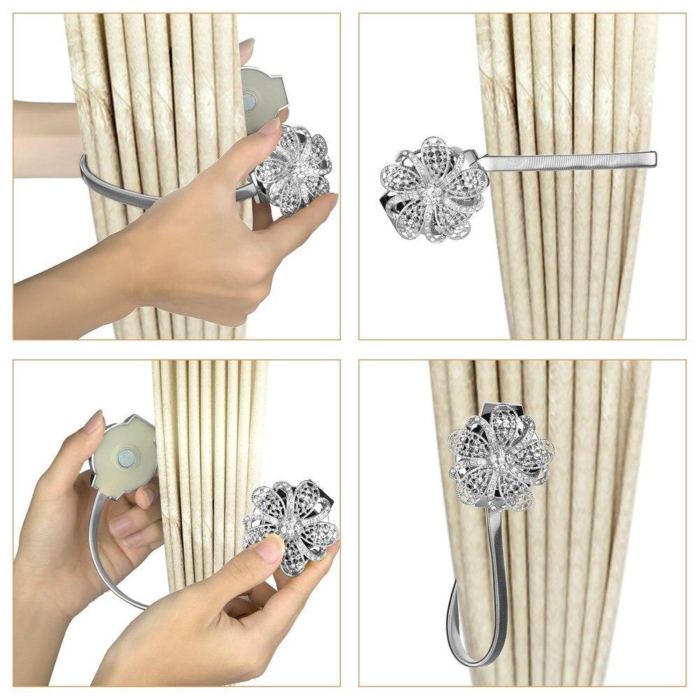 1 Paar Stijlvolle Vormige Magneet Bloem Gordijn Tieback Magnetische Gordijnen Gesp Venster Screening Bal Clip Houder Accessoires L4 Elegant En Stevig Pakket
