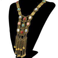 Bohemian Vintage Turquoise Bead Long Tassel Pendant Necklaces Women Gold Silver Plated Chain Statement Necklace Jewelry