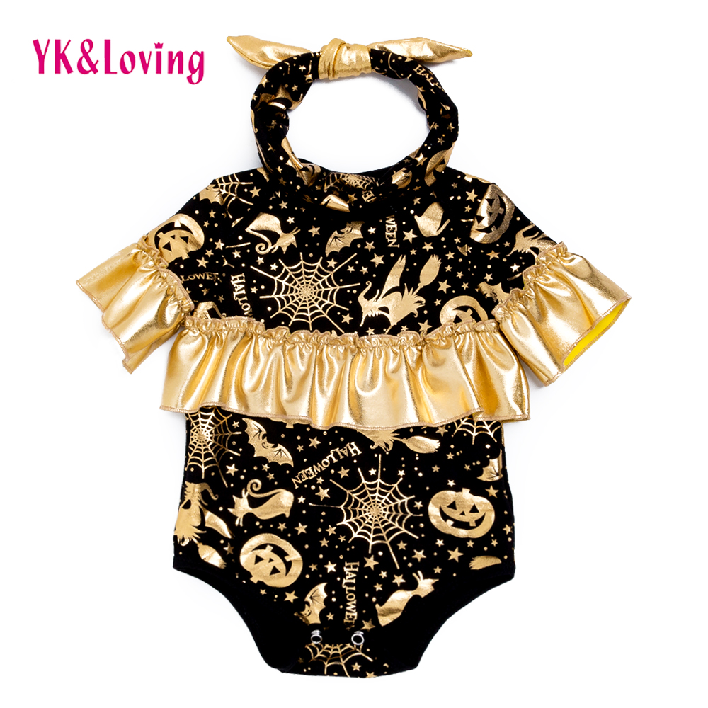 2018 New Ruffle Bodysuits Baby Halloween Newborn Girls Black Gald Pumpkin Clothes For Infant/Toddler Girls 0-24M Fashion Outfit