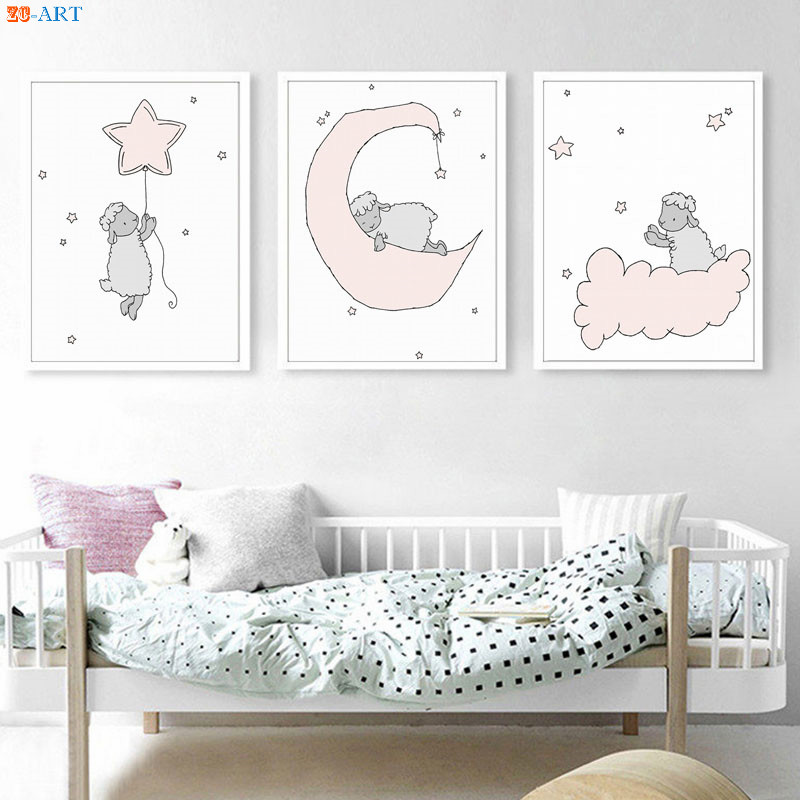 Canvas Painting Lamb Nursery Art Prints