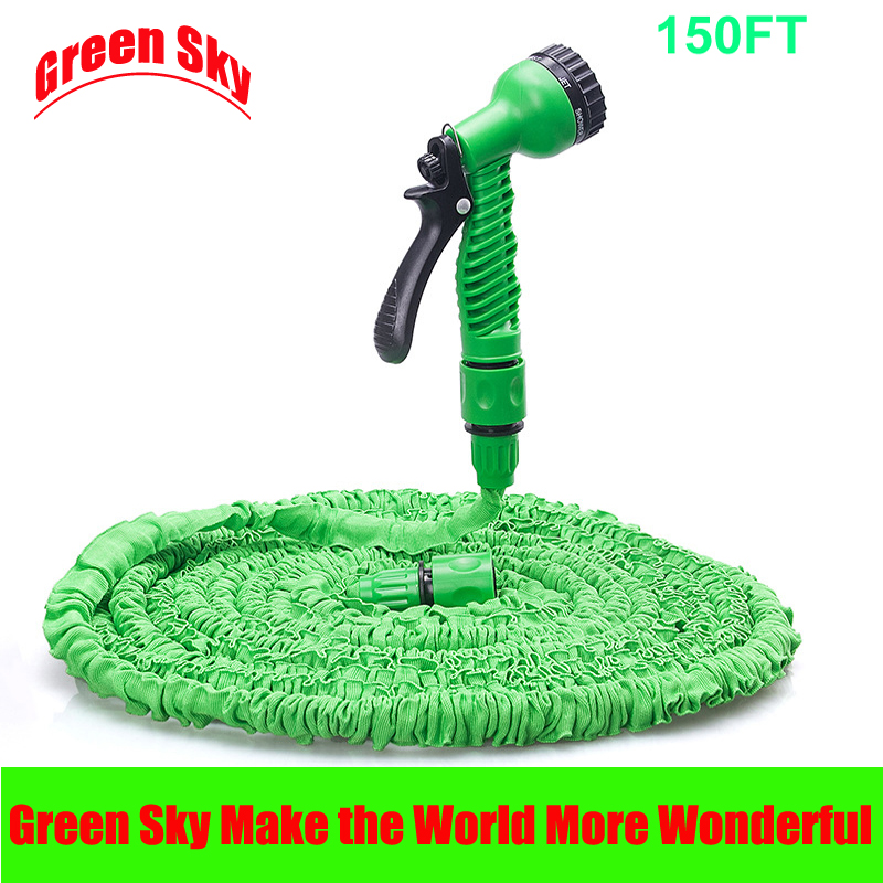 ФОТО Hot Selling 150FT TPE Plastic Pipe With Spray Gun Magic Flexible Garden Water Hose