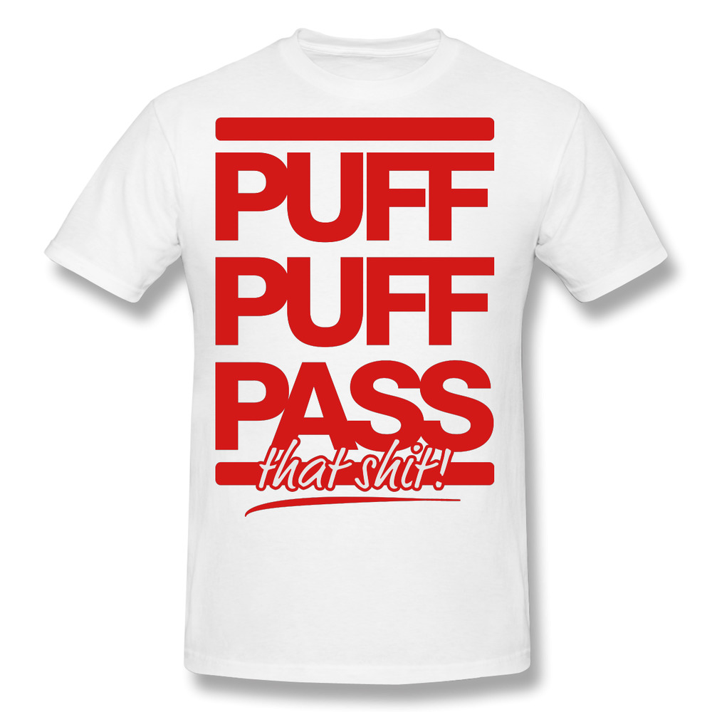 Puff Pass Cotton Print O Neck Short Personalized Men Shirts Blunt Hip Hop White Tee Shirt