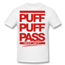 Puff Pass Cotton Print O-Neck Short Personalized Men Shirts Blunt Hip Hop White Tee Shirt