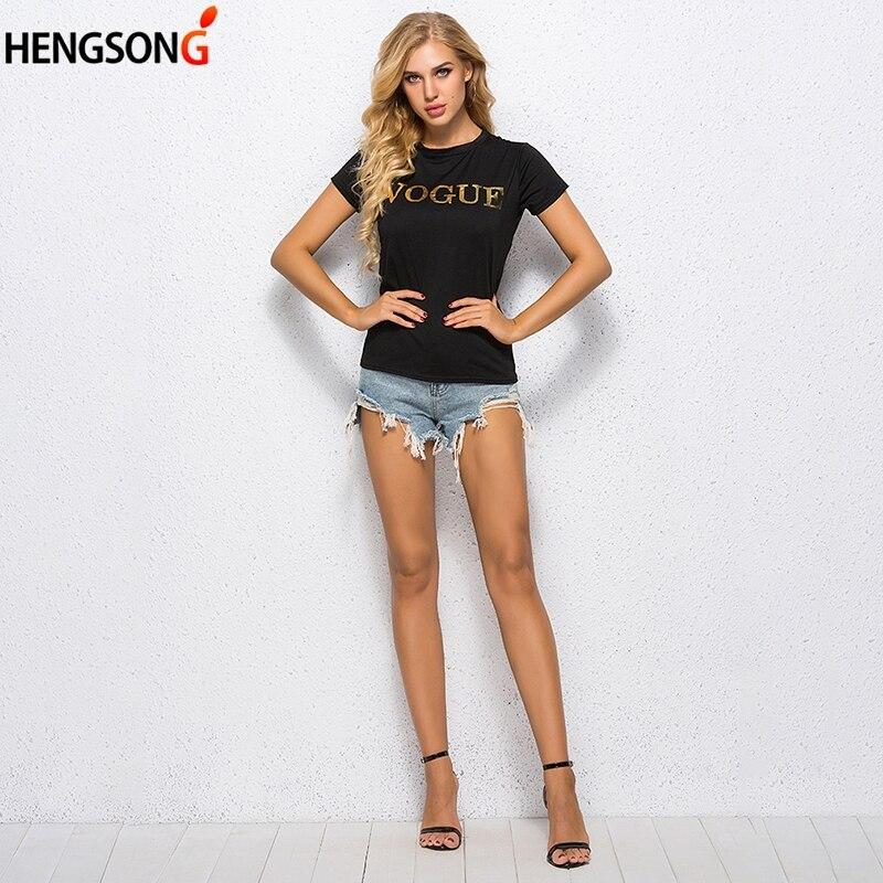 Mode Schwarz T Hemd Frauen Brief Gedruckt T-shirt Frauen Tops T Shirt Femme 2018 Neue Ankünfte Heißer Verkauf Casual Sommer tees
