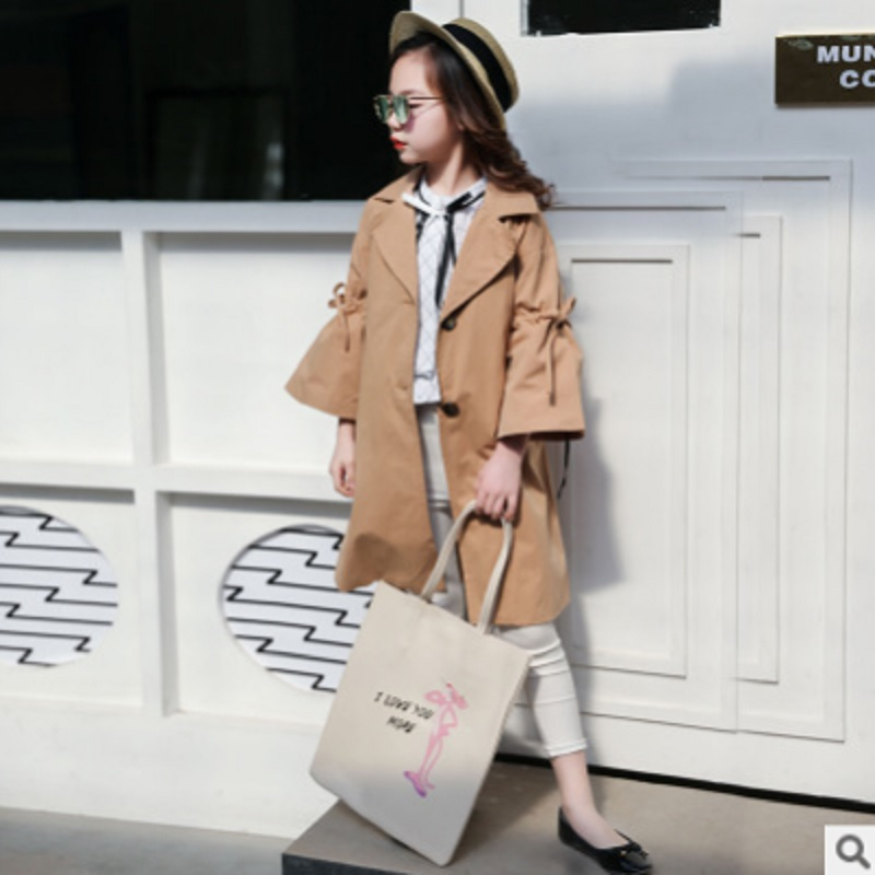 Girls Waist   Trench   Coat 2019 New Spring and Autumn Children's Khaki Color Windbreaker Single-breasted Size110-160 For 4-14 ly273