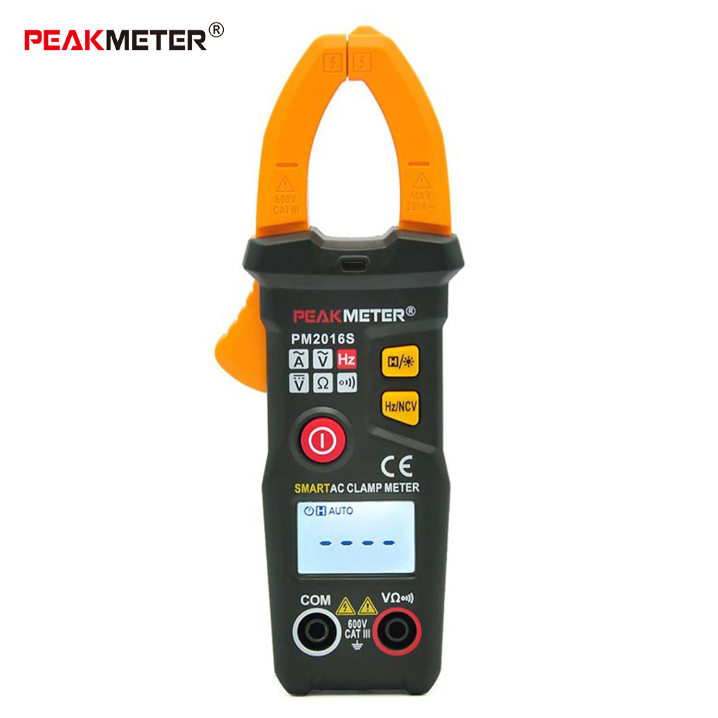 PEAKMETER PM2016S PM2016A Smart Mini Digital AC Clamp Meter Multimeter with Resistance Frequency Data Hold NCV Tester