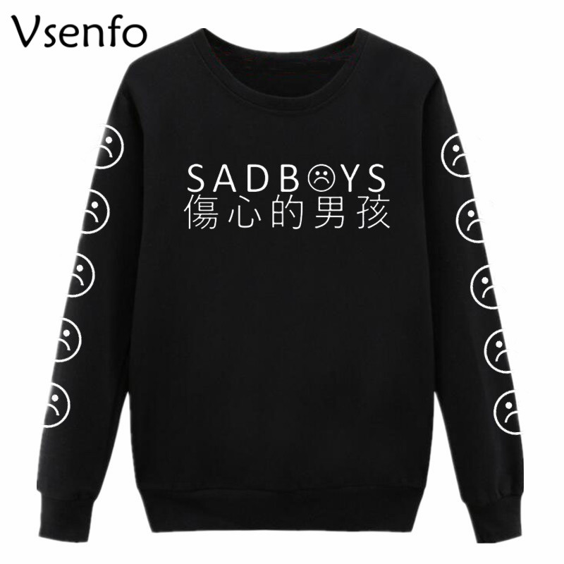 Vsenfo Sad Faces Sweatshirt Women Funny Emoticon Sleeves Printed  Tumblr Sad Boys Hoodies Harajuku Tracksuit Clothing Jumper Top