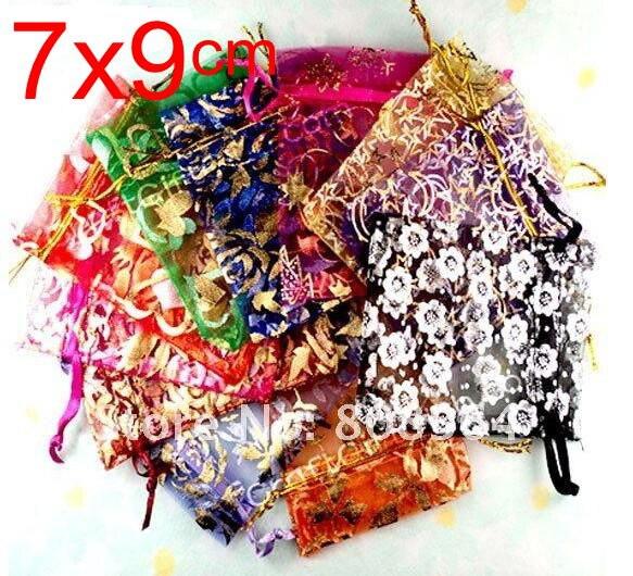 Купить с кэшбэком OMH wholesale 10pcs 15color Mix Love heart Rose flowers Christmas Wedding voile Organza Bags Jewlery packing Gift gift BZ08-21