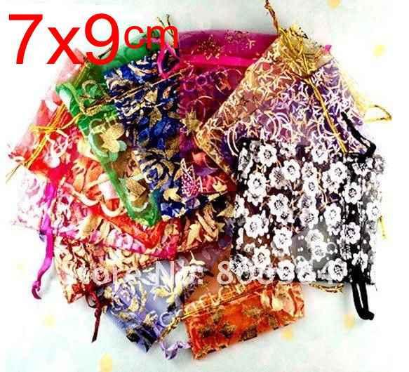 OMH atacado 10 pcs Mix 15 cores do Amor do coração de Rosa flores do Casamento voile Sacos De Organza Jewlery embalagem do Presente Do Natal presente BZ08-21