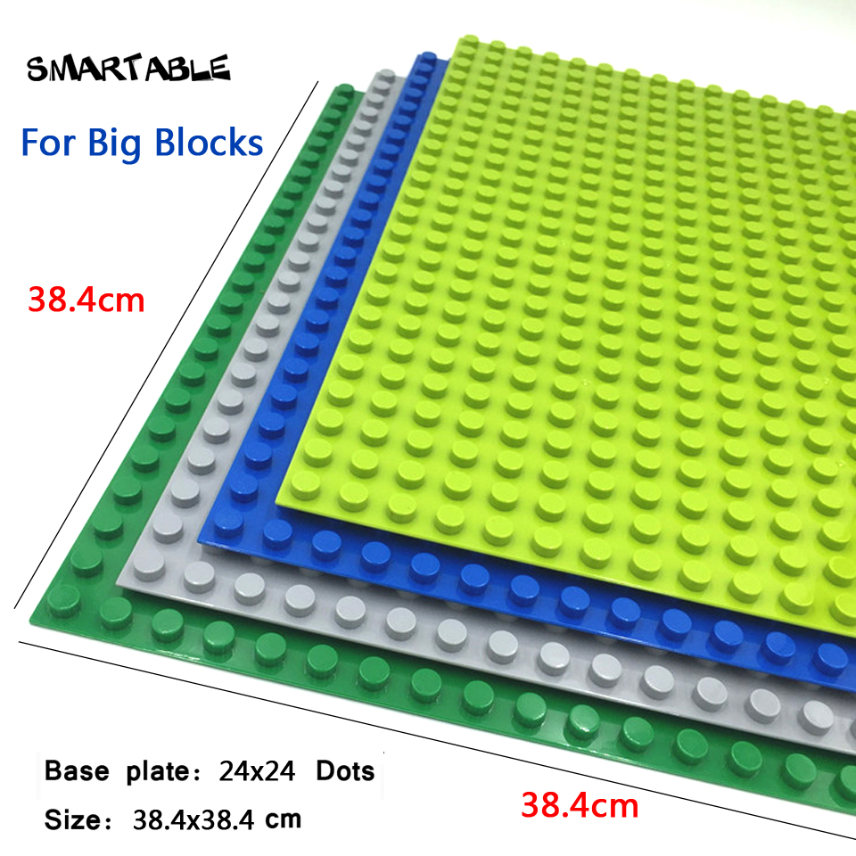 Smartable Base plate for Big Bricks Baseplates 24*24 Dots DIY Building Blocks Compatible legoing Toys christmas Gift 2pcs/lot 32 32 dots plastic bricks the island straight crossroad curve green meadow road plate building blocks parts bricks toys diy