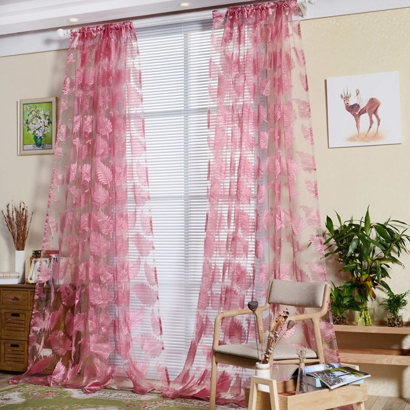 1 pc Burnout Feather Printed Tulle Curtain  Indoor Window Screening Decor Burnout Voile Curtains for Living Room bedroom IK40