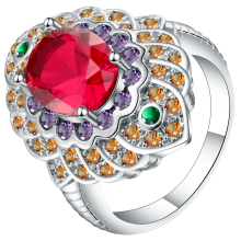 New Luxury Vintage Rings Jewelry Big Flower Wedding Party For Women silver Color red Crystal 2018 Fashion Accessories