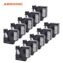 Absonic 10 pièces 12mm étiquettes ruban Cassette DYMO D1 45013 noir sur blanc imprimante ruban pour imprimante Dymo LabelManager 160 210D 280