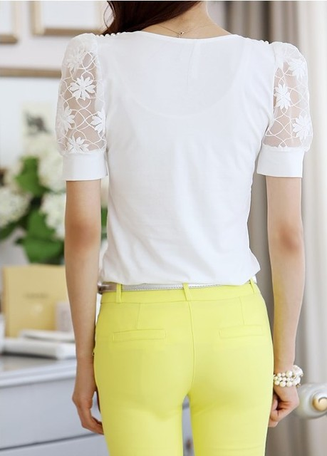 summer Women lace V-neck short-sleeved shirt Slim beaded chiffon shirt bottoming casual blouse 6
