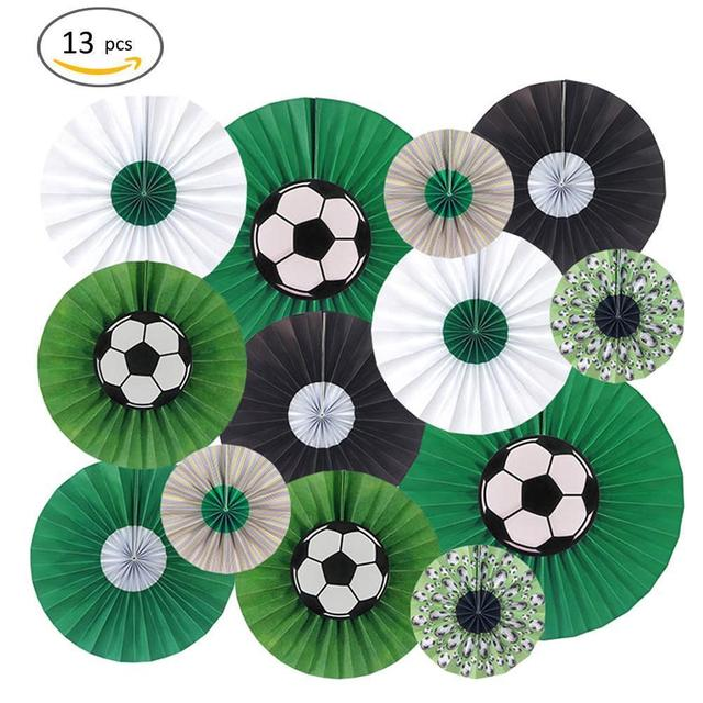 13pcs/set Russia World Cup Theme DIY Party Hanging Paper Flower Fan Foldable Origami Fan Football Soccer Home Wall Decoration