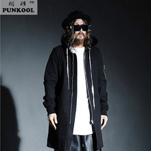 PUNKOOL British Warm Gothic Trench Men Pea Coat Hooded Long Black Trench Coat Mens Hood Punk Jackt Men Windbreaker Overcoat(China)