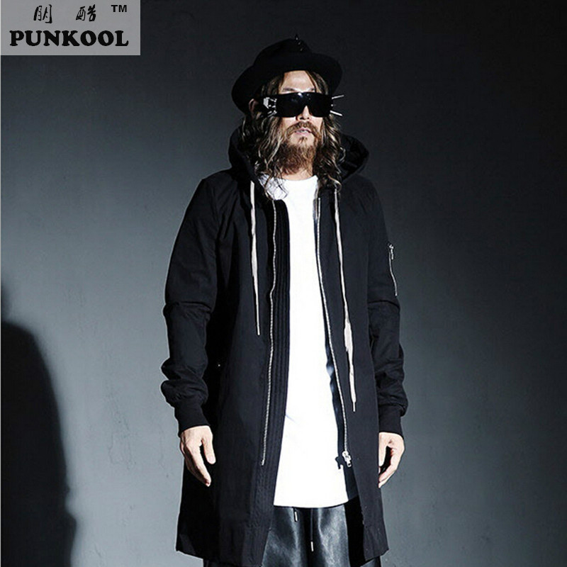 PUNKOOL British Warm Gothic Trench Men Pea Coat Hooded Long Black Trench Coat Mens Hood Punk Jackt Men Windbreaker Overcoat