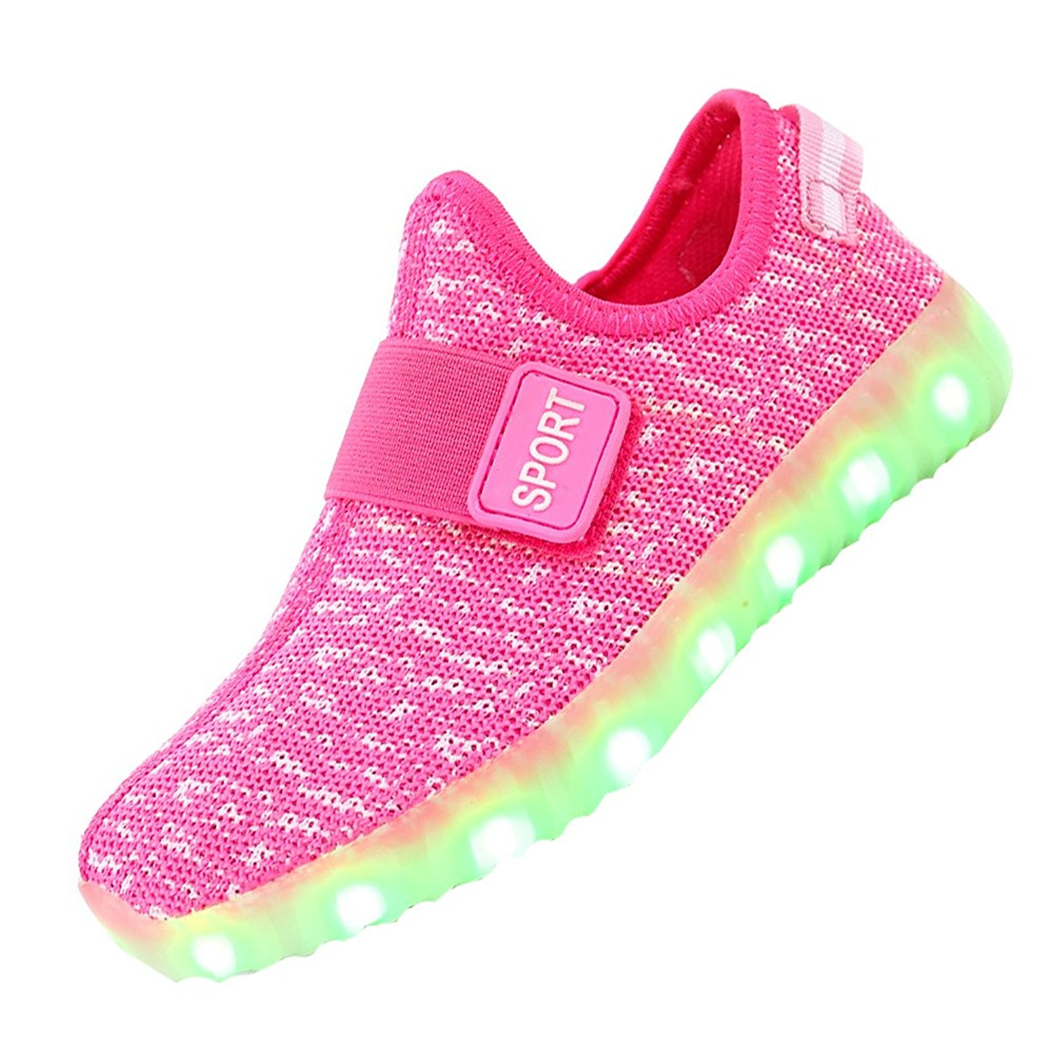 Boys Girls Breathable LED Light Up Shoes Flashing LED Sneakers Luminous Kids Shoes with Light Glowing Sneakers Children Pink