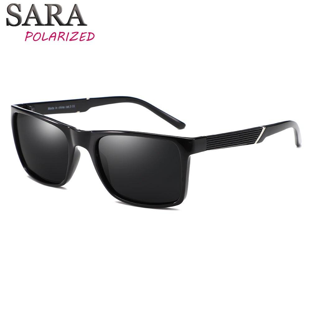 SARA Marca Moda Preto Óculos De Sol Dos Homens Polarizados Condução Óculos  de Sol Moda Masculina 652e7c3e9f