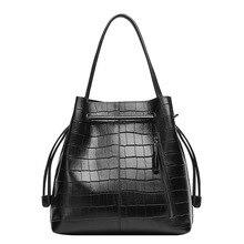 2016แฟชั่นผู้หญิงหนังแท้กระเป๋าถังใหม่จระเข้กระเป๋าสะพายความจุขนาดใหญ่ร้านผู้หญิงของMessengerกระเป๋า