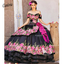 Black Ball Gown Quinceanera Dresses Off The Shoulder Neck Beaded Tiered Sweet 16 Dress Sweep Train Organza Flower Appliqued