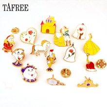 TAFREE  Lapel Pins Teapot,House,Heart,Rose And Princess Brooches Fairy Tales Series Cartoon Animals Badge Drip Oil Jewelry LP622