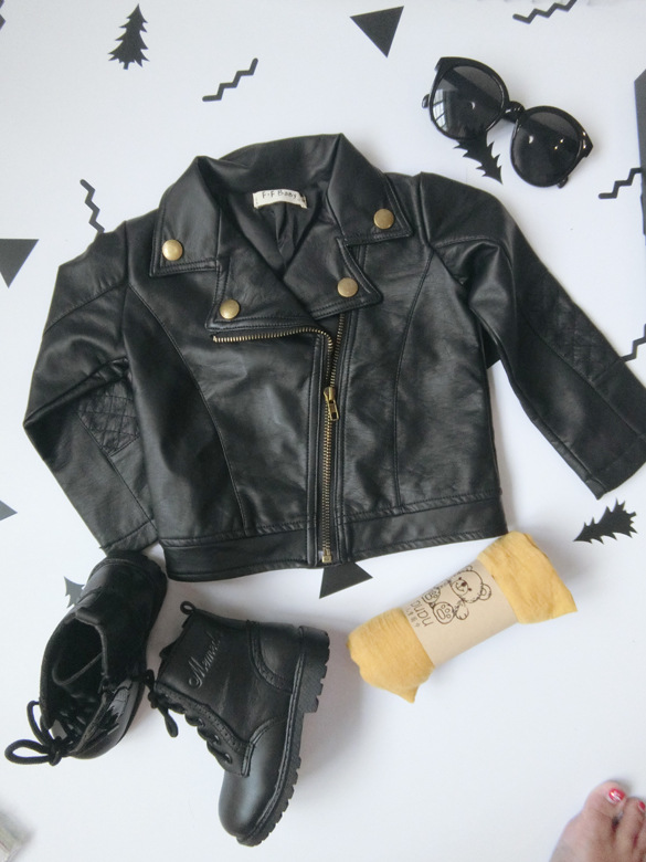 Wind PU Leather Leather Coat Baby Boys and Girls Short Children Jacket 31