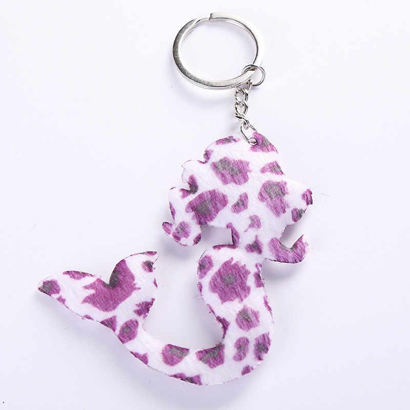 Милый брелок для ключей «русалка» цветной Леопардовый принт Подарочная цепочка для ключей для женщин llaveros para mujer Автомобильная сумка sleutelhanger 2019 ювелирные изделия