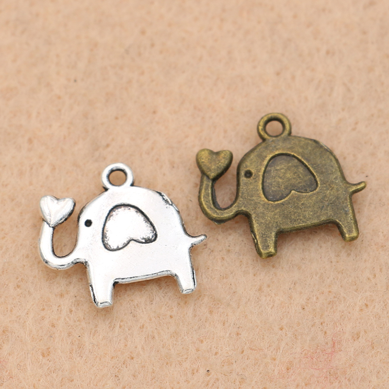 perfektchoice 10pcs Antique Silver Elephant Animal Charm Pendant Jewelry Making Accessory