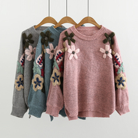 2019 spring autumn new Flowers Embroidery beading women Korean style Sweaters Lantern Sleeve o neck sweet female tops gx1171