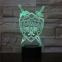 3d Lamp The Legend Of Zelda Kids Night Light Led Bedside luminaria Colorful Nightlight Childrens Holiday Gift Table Lamp RGB rose flower table lamp wedding decoration led night light heart shape luminaria bedside desk lamp for holiday christmas gift