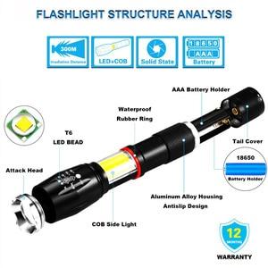 Image 2 - EZK20 Dropshipping LED כף יד טקטי פנס 18650 COB פנס מגנטי 6 מצבי מים עמיד עבור חירום
