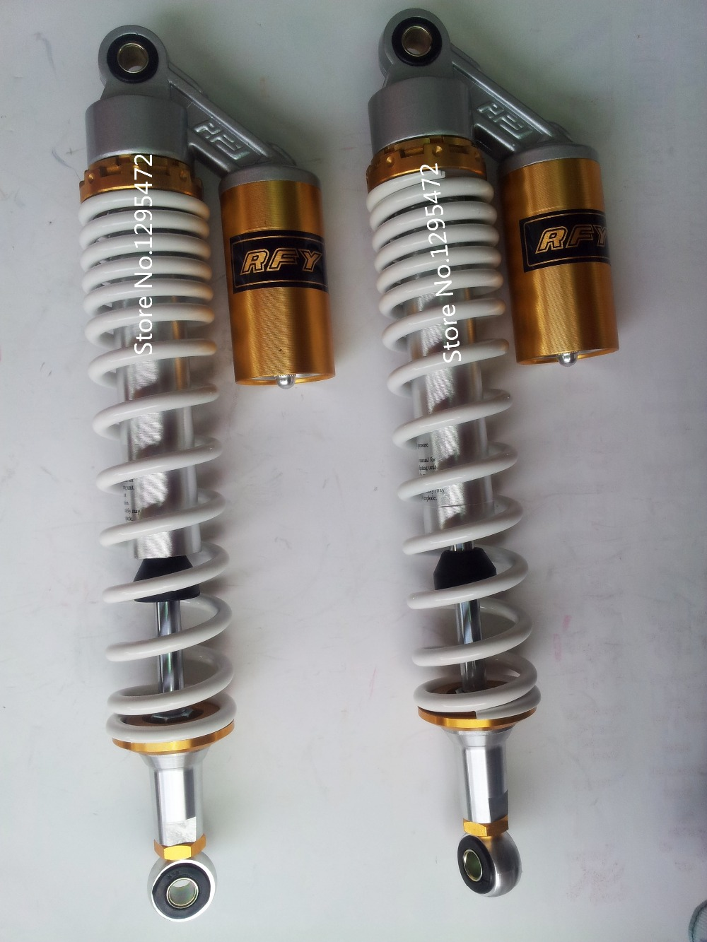 """New 400mm 15.75"""" Motorcycle 8mm Spring Air Shock Absorber  For Yamaha YFZ450 Raptor 700 660 Banshee ATV Color White+silver+gold"""
