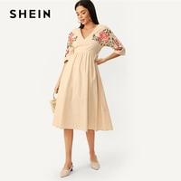 fb9b7c4b5a SHEIN Floral Embroidered V Neck Pleated Dress 2019 Khaki Zipper Half Sleeve  Flounce Hem Shaped Spring