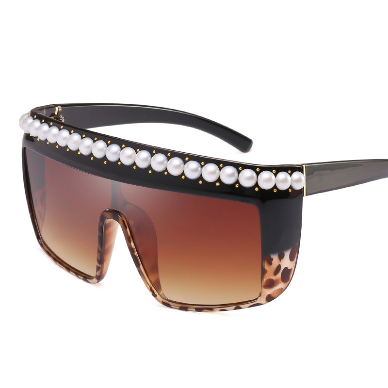 Lady big frame piece pearls glasses luxury Italian designer glasses ...