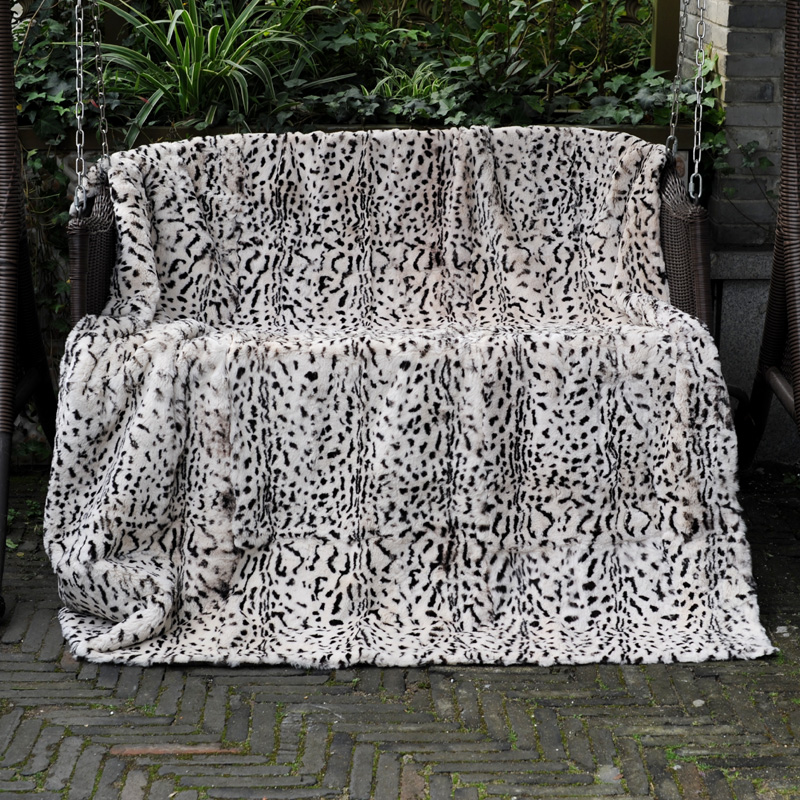 Home Automation Modules Rational Cx-d-132 200x150 Leopard Print Real Rex Rabbit Fur Shaggy Carpet Rug Throw To Rank First Among Similar Products