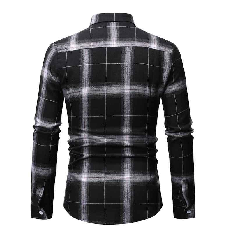 Модная мужская клетчатая рубашка 2019 новая брендовая мужская рубашка с длинными рукавами деловая Мужская рубашка в стиле кэжуал Camisa Social Chemise Homme 3XL